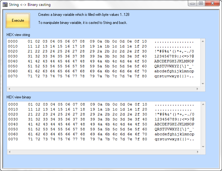 Option compare text vs binary